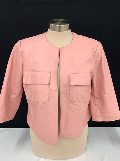 WORTH Women's Collarless Dusty Rose size 8 Leather Jacket