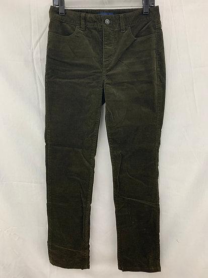 Talbots Women sz 4L Dark Army Green Corduroy Heritage 4 Pocket Pant Cotton Stret