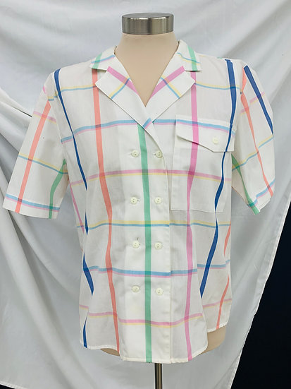 Sandra Ingrish Vintage Short Sleeve Double Button Shirt Med