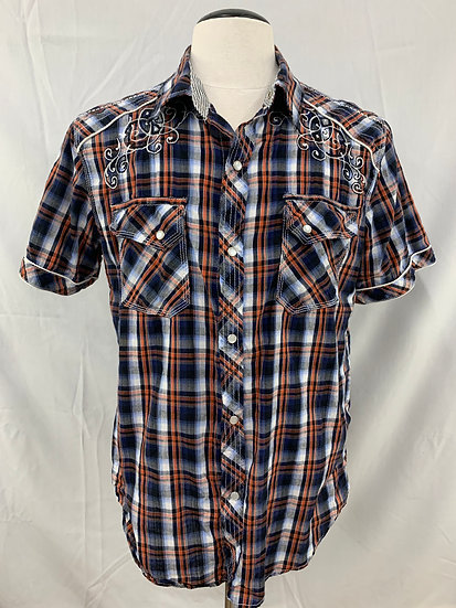 Pop Icon Clothing Men's size L Snap Button-up Short Sleeve Shirt