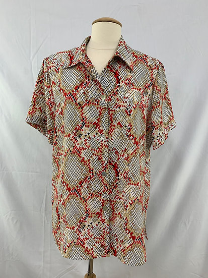 Borcellini Exclusive Creation Women`s Short Sleeve size L Tan Red Black White Bu