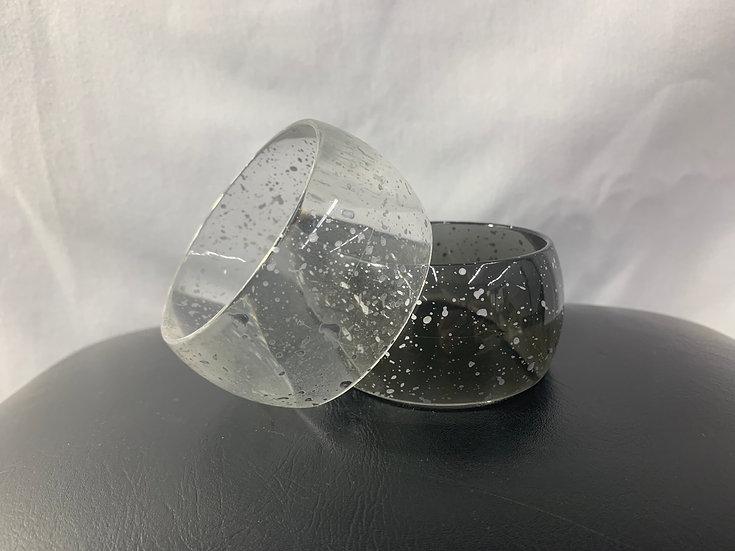Bangle Plastic Vintage Set Black/White Splatter
