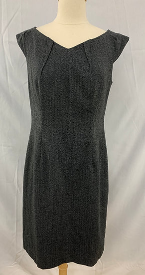 Wassio stretch Women's size 8 Black Herrringbone Soft Cap Sleeve Dress