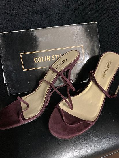 Colin Stuart Leather Soft Suede Plum Strappy Heels Sz 10