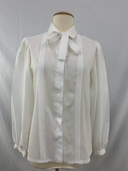 Gailord Womens Top Size 12 White Pleated Long Sleeve Button Down Dressy Blouse
