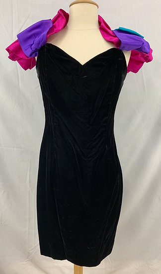 VTG 80`s Dress Black Velvet Dress Taffeta Sleeves by Roberta