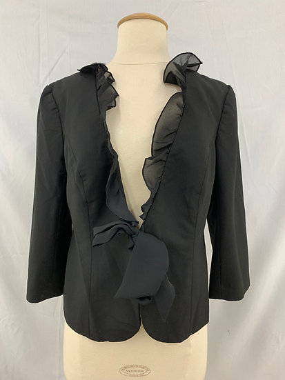 THE LIMITED size M Black Ruffled Collar Front Tie 3/4 Sleeve Jacket