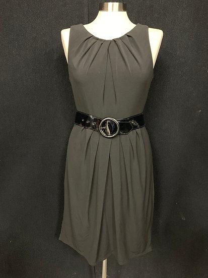 White House Black Market Black Sleevless dress with Patent Belt size 6