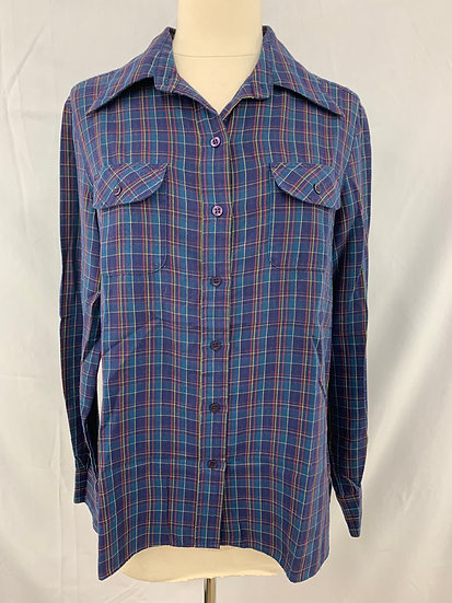 "Lady Manhattan Checkered Blue Yellow Red 2 Pocket ""Button Down Blouse Shirt Top"