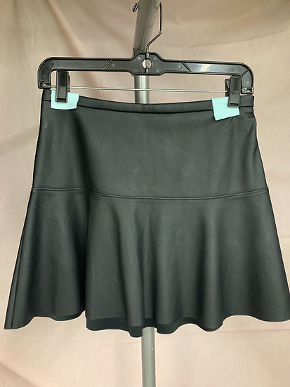 Express Women's size 00 Faux Leather Look A-line Flare Mini Skirt
