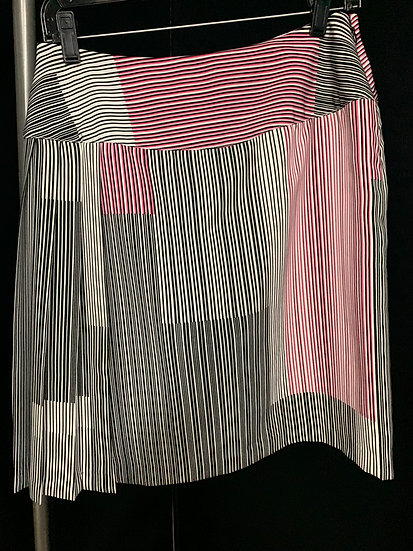 Worthington Women's size 4 Black White and Pink Stripe Side Pleated Skirt