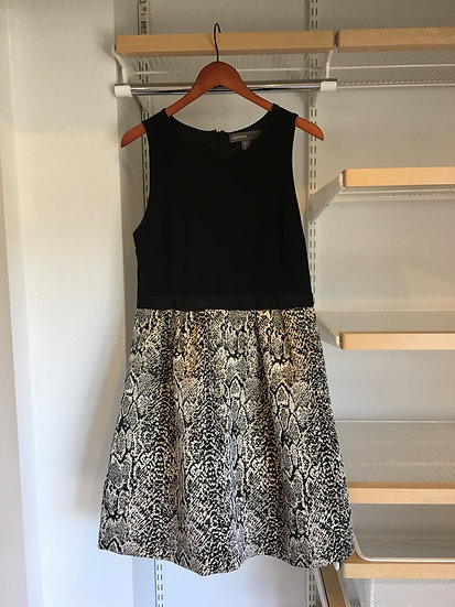 NWT Donna Ricco New York Black and White Snakeskin Sleeveless Cocktail Dress - S