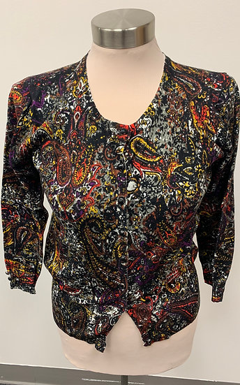 NWT Grace Paisley Black Orange Yellow Rayon Sweater sz M