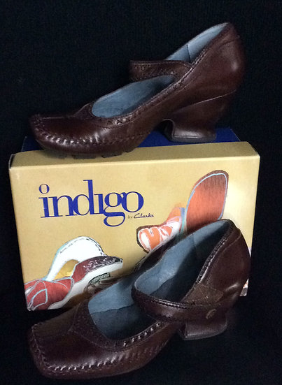 NIB indingo Duchess Cafe Brown Shoes 7.5 M Leather Mary Jane