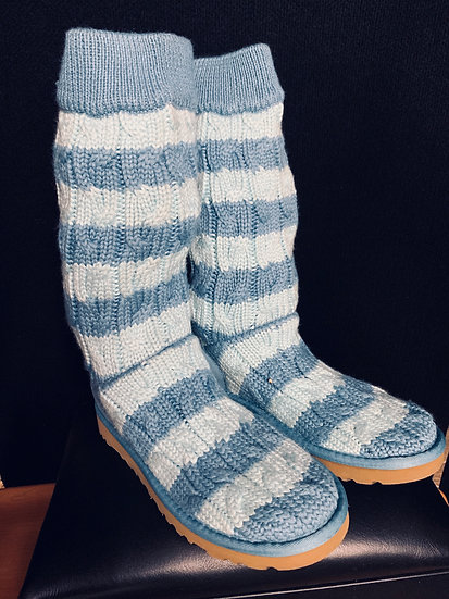 UGG Australia Classic Cardy Cable Blue Stripe Sweater Boots Women's 5822