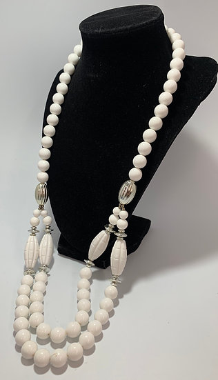 """Vintage White Plastic Bead Silver Spacer 2 Accent Strands Necklace 30"""""""
