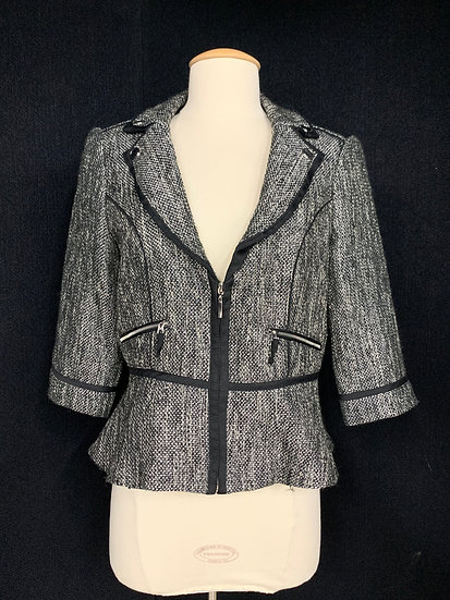 White House Black Market Women's size 4 Black / White Tweed Jacket Meta; and Zip