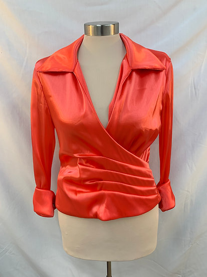 JESSICA HOWARD evening Womens Dark Pink Salmon Satin look Blouse Top Pointed Col