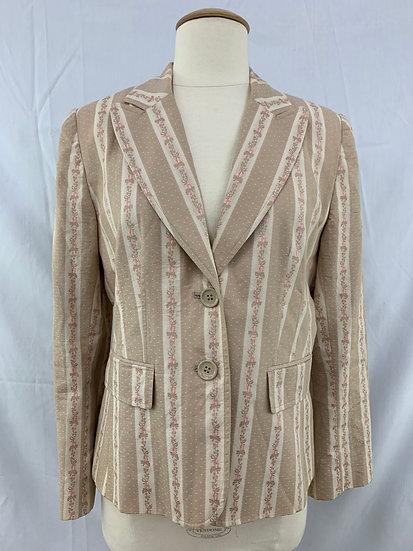 Ann Taylor Loft Petites Women's size 10P Beige Tan Pink Long Sleeve Blazer Jacke