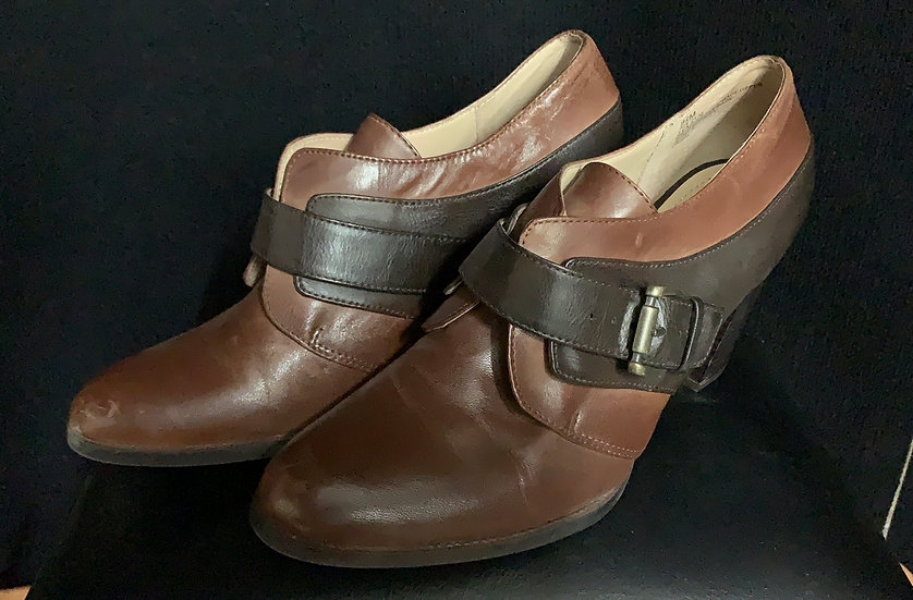 LIZ & CO Black & Brown Chelsea Buckle Ankle Bootie Heel Shoes Sz