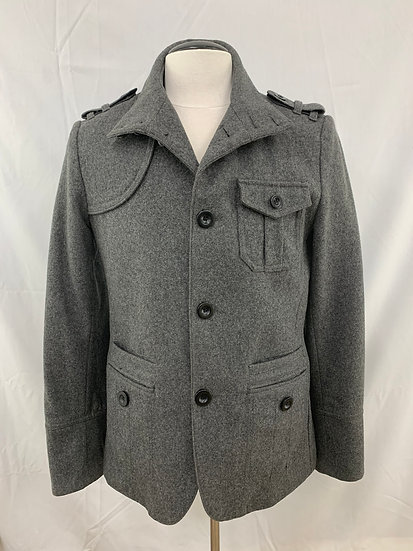 H&M Men's size 36R Double Breasted Pea Coat Gray Wool Blend Military Jacket