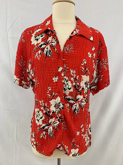 Casual Ccorner vintage size M stretchy crinkle red white black flowery short sle
