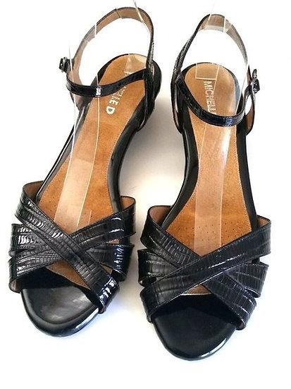 NEW Michelle D Black Patent Leather Sandals Ankle Strap size 8M