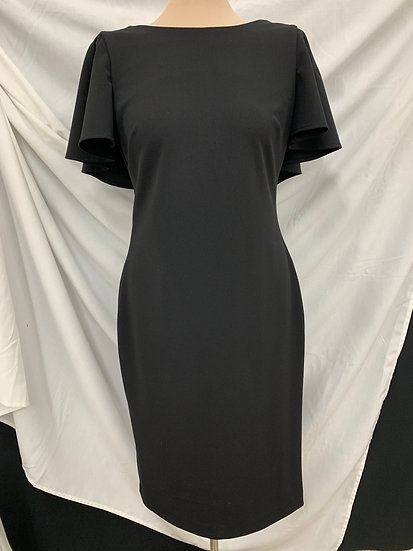 Calvin Klein Plain Black Ruffle Back Ruffle Back Short Seath Dress sz 6