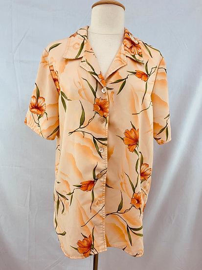 MAGGIE SWEET Women's size S Heavenly Floral Blouse Shirt Orange Green Peach Butt