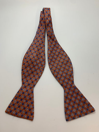 Haines & Bonner All Silk Adjustable Orange & Blue Bowtie