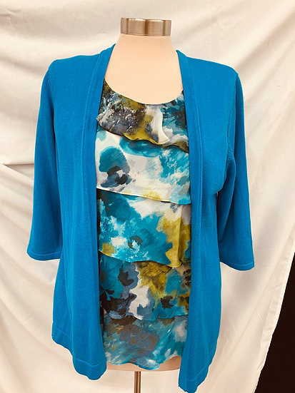 Elementz Women's Blue Olive Green top w/ attached Blue Sweater