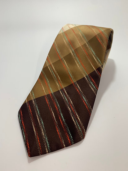"""Vintage Prestwick Brown, Orange & Green Accent Stripe Tie 55"""""""