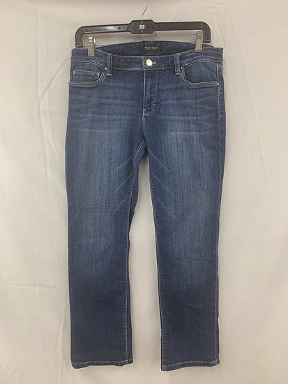WHITE HOUSE BLACK MARKET Women's size 8 Crop Leg Denim Jeans Whiskered Women's