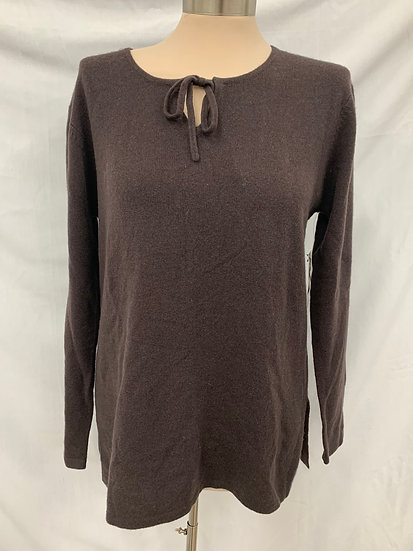 NWT LORD AND TAYLOR Womens Brown medium 100% Cashmere Pullover Sweater with Tie