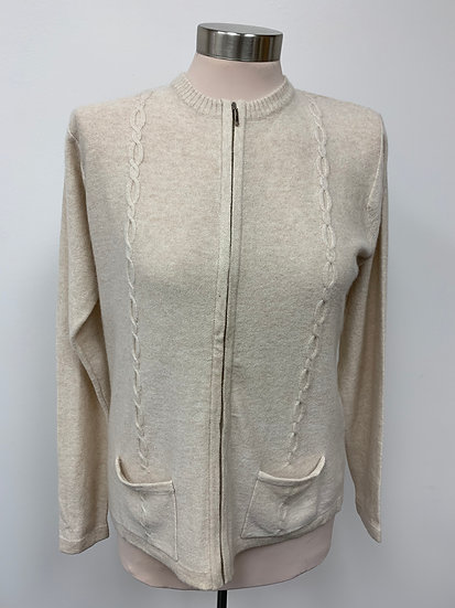 Lord and Taylor Ivory Zip Up Cashmere Cardigan Sweater sz S