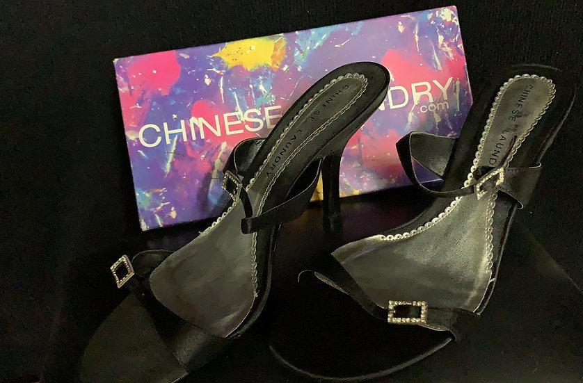NIB Chinese Laundry Womens Mystic High Heel Dress Shoes Black Satin Sz 9