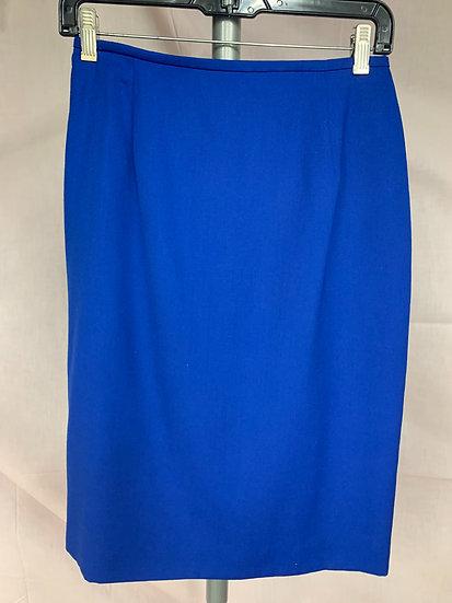 NWT Rena Rowan for Saville size 8 Wool Blend Sapphire Blue Pencil SKIRT Straight