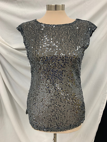 The Limited Metallic Gray size S Sequin Sheer Blouse Cap Sleeveless