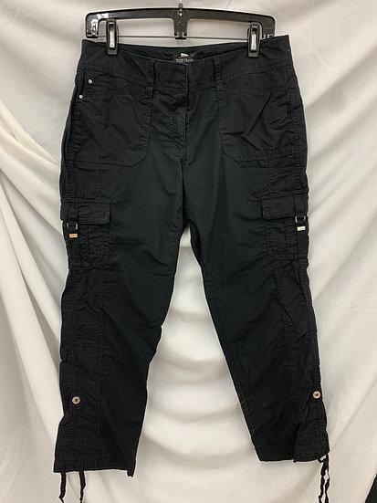 White House Black Market Black Cargo Capris Crop Pedal Pants size 6