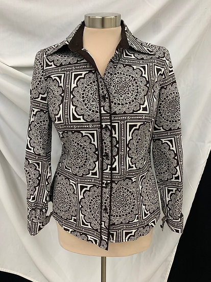 Talbots Womens Black White Long Sleeve Stretch Button Front Shirt Size S