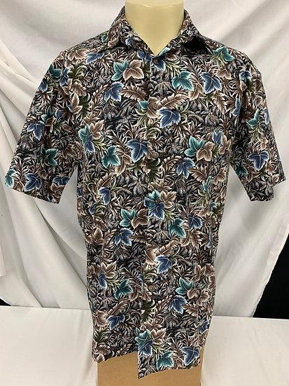 Moda Campia Moda sz M Mens Short Sleeve Leaf Print Shirt