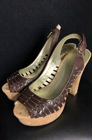 Guess by Marciano Brown Gold Studded Cork Heels size 6