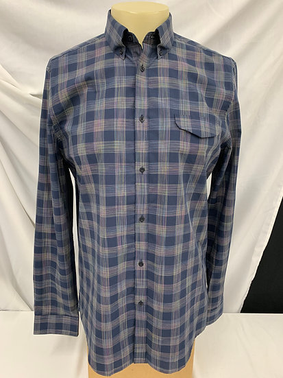 Men's Ben Sherman  sz L Blue Stripe Plaid Long Sleeve Button Up Shirt