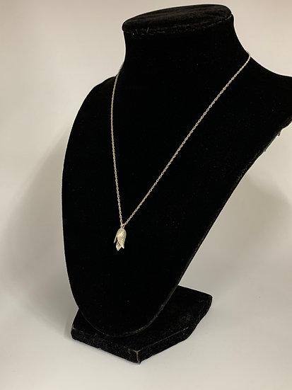 "Silvertone Flower Necklace with Diamond, 14K 16"" Chain"