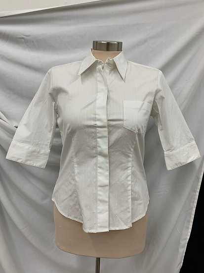 NWT Express World Brand Stretch Women's White size 5/6 Hidden Button Down Blouse