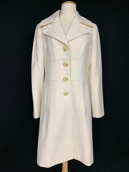 Nine West Women's size 6 White/Ivory Wool Blend Long Sleeve Button-Down Coat