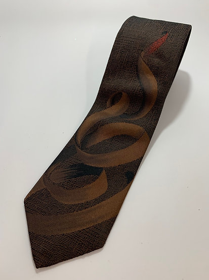 """Vintage Expressions Polyester/Silk Brown Tie 58"""""""