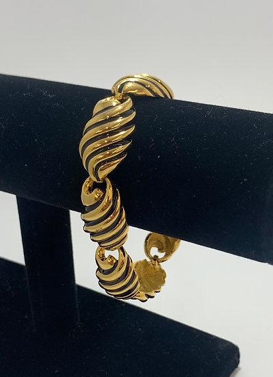 Joan Rivers Gold Tone and Black Lined Enamel Metal Bracelet