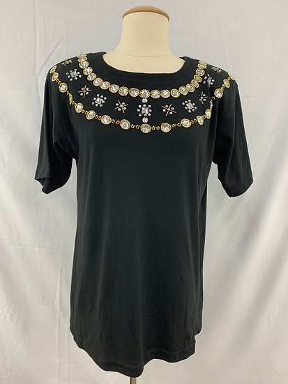 NWT Victoria Harbour Women's size S Black Pullover Short Sleeve Shirt Top