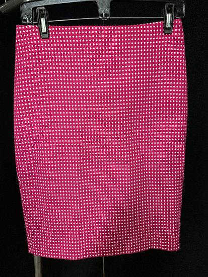 Ann Taylor Pink White Polka Dot Pencil Straight Skirt